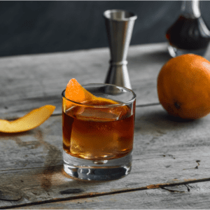 Old Fashioned whiskey drink in glass